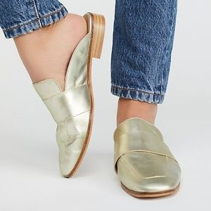 Free People Gold At Ease Leather Loafer Mule